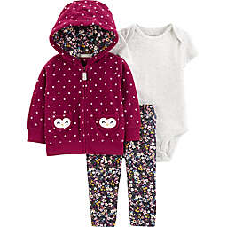 carter's® 3-Piece Owl Polka Dot Hooded Cardigan, Bodysuit, and Pant Set in Burgundy
