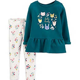 "carter's® 2-Piece ""Hello Lovely"" Peplum Top and Floral Pant Set in Teal"