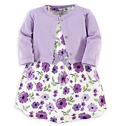 Touched by Nature 2-Piece Purple Garden Organic Cotton Dress and Cardigan Set