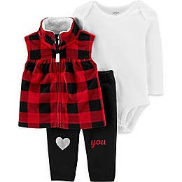 carter's® 3-Piece Buffalo Check Vest, Bodysuit, and Pant Set