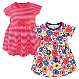 Touched by Nature 2-Pack Bright Flower Organic Cotton Short Sleeve Dresses