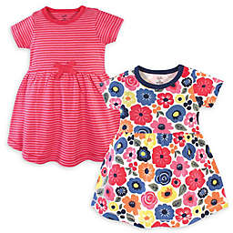 Touched by Nature Size 5T 2-Pack Bright Flower Organic Cotton Short Sleeve Dresses