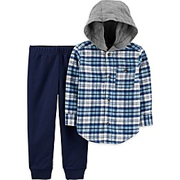 carter's® 2-Piece Blue Hooded Flannel and Pant Set in Plaid