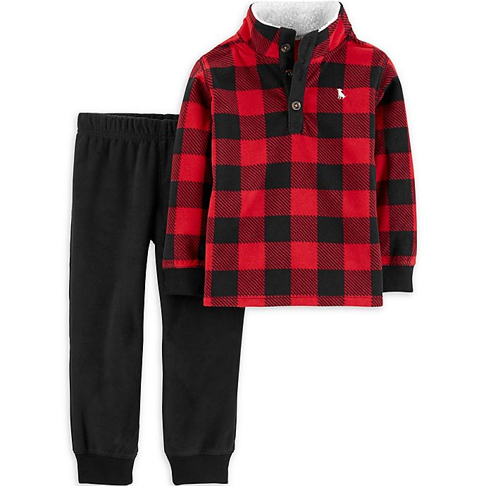 Alternate image 1 for carter's® 2-Piece Red Buffalo Check Flannel and Pant Set in Plaid