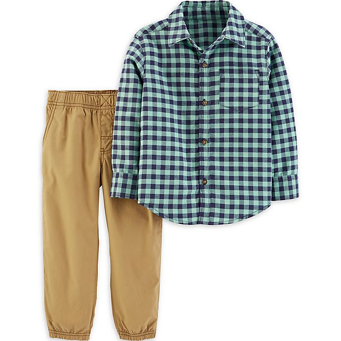 Alternate image 1 for carter's® 2-Piece Teal Gingham Shirt and Pant Set in Plaid