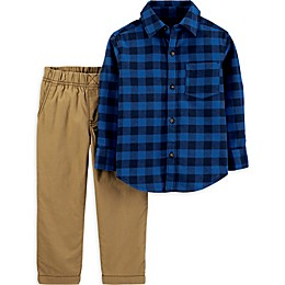 carter's® 2-Piece Plaid Flannel Shirt and Pant Set in Navy