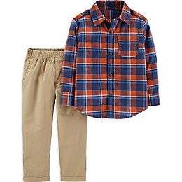 carter's® 2-Piece Plaid Flannel Shirt and Pant Set in Blue/Red
