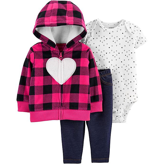 Alternate image 1 for carter's® 3-Piece Buffalo Check Heart Hooded Cardigan, Bodysuit, and Pant Set