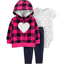 carter's® 3-Piece Buffalo Check Heart Hooded Cardigan, Bodysuit, and Pant Set