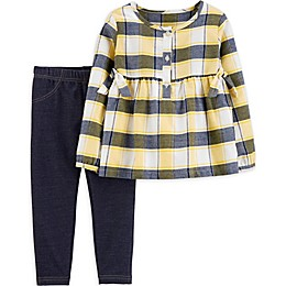 carter's® 2-Piece Plaid Placket Dress and Pant Set in Yellow