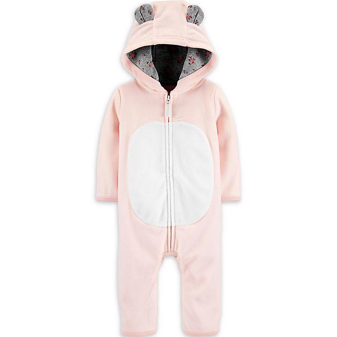 Alternate image 1 for carter's® Hooded Bear Romper in Pink