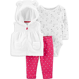 carter's® 3-Piece Reindeer Bodysuit, Vest, and Pant Set in Ivory