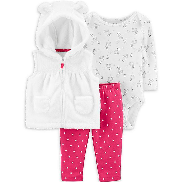 Alternate image 1 for carter's® 3-Piece Reindeer Bodysuit, Vest, and Pant Set in Ivory