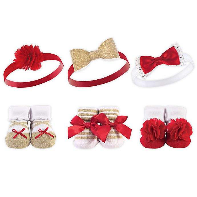 Alternate image 1 for Hudson Baby® 6-Piece Holiday Bow Headband and Sock Set in Red