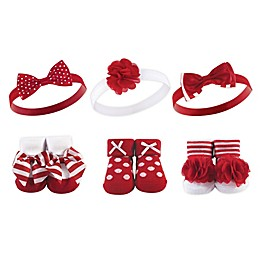 Hudson Baby® 6-Piece Polka Dot Headband and Sock Set in Red
