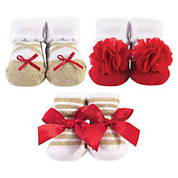 Hudson Baby® 3-Pack Holiday Bow Socks in Red
