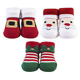 Hudson Baby® Santa One-Size 3-Pack Sock Set in White