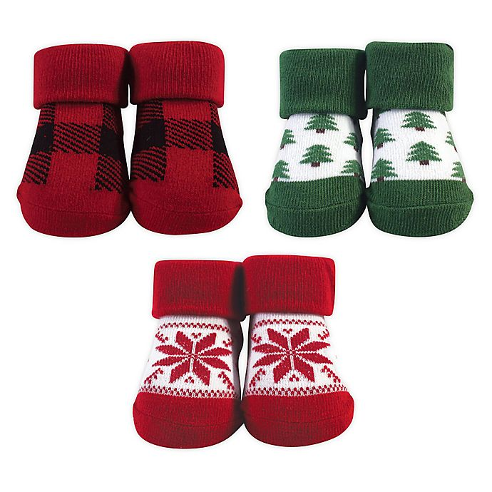 Alternate image 1 for Hudson Baby® Tree One-Size 3-Pack Sock Set in Green