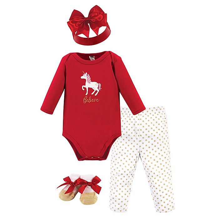 Alternate image 1 for Hudson Baby® 4-Piece Holiday Bodysuit, Pant, Hat and Sock Set