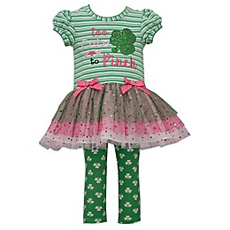 "Bonnie Baby 2-Piece ""Too Cute To Pinch"" Top and Legging Set in Green"