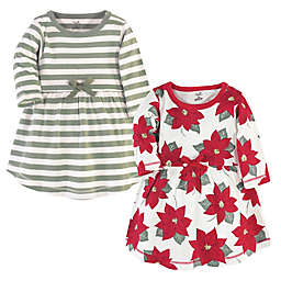 Touched by Nature Size 14Y 2-Pack Organic Cotton Poinsettia Holiday Dress Set
