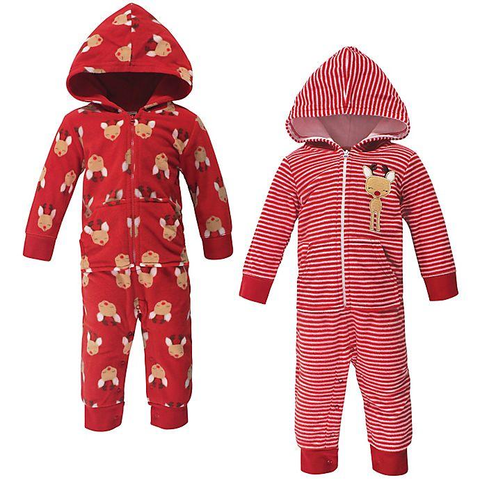 Alternate image 1 for Hudson Baby® 2-Pack Festive Fleece Coveralls