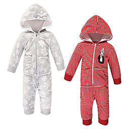 Hudson Baby® Size 12-18M 2-Pack Penguin Fleece Coveralls in Red