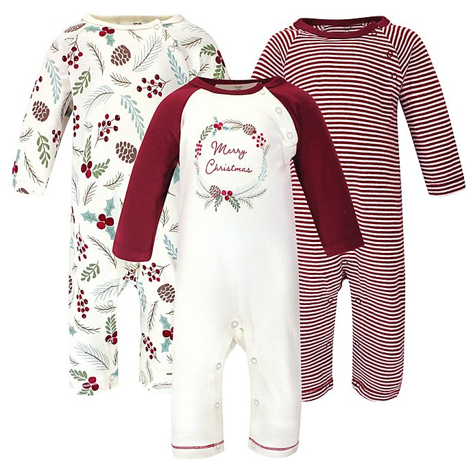 Alternate image 1 for Touched by Nature® 3-Pack Holiday Organic Cotton Coveralls