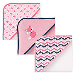 Luvable Friends® 3-Pack Foxy Hooded Towels in Pink
