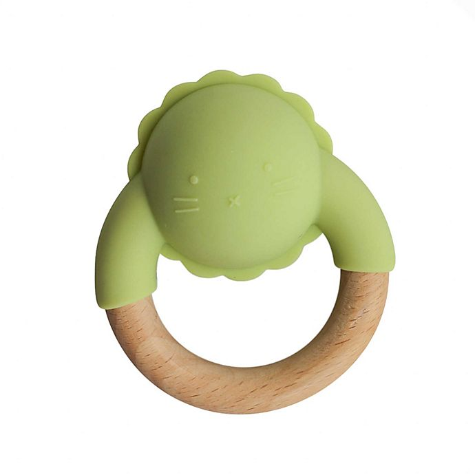Alternate image 1 for Little Rawr™ Silicone and Wood Animal Rattle