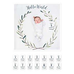 Lulujo Baby Hello World Baby's First Year Swaddle Blanket and Cards Set in White/Green