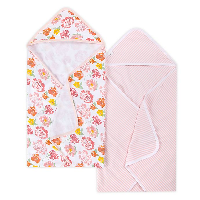 Alternate image 1 for Burt's Bees Baby® 2-Pack Organic Cotton Hooded Towels in Blossom