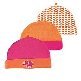 Yoga Sprout® Size 0-6M 3-Pack Elephant Caps in Pink/Orange