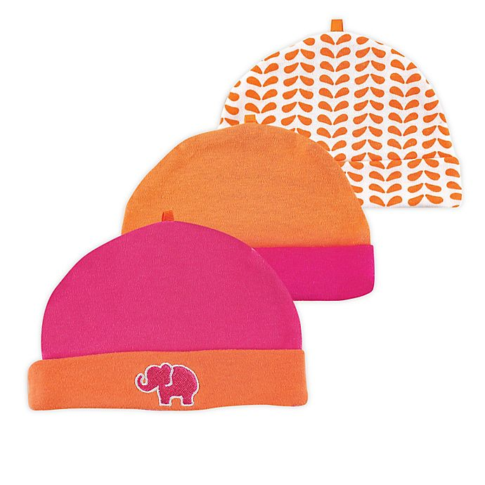Alternate image 1 for Yoga Sprout® Size 0-6M 3-Pack Elephant Caps in Pink/Orange