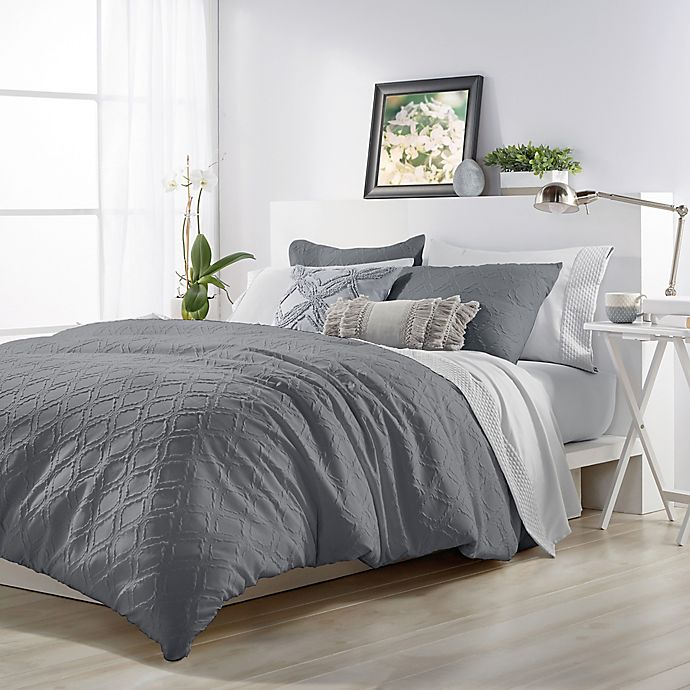 Alternate image 1 for Microsculptä Ogee King Comforter Set in Charcoal