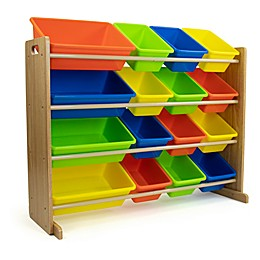 Natural Toy Storage Organizer with 16 Bins