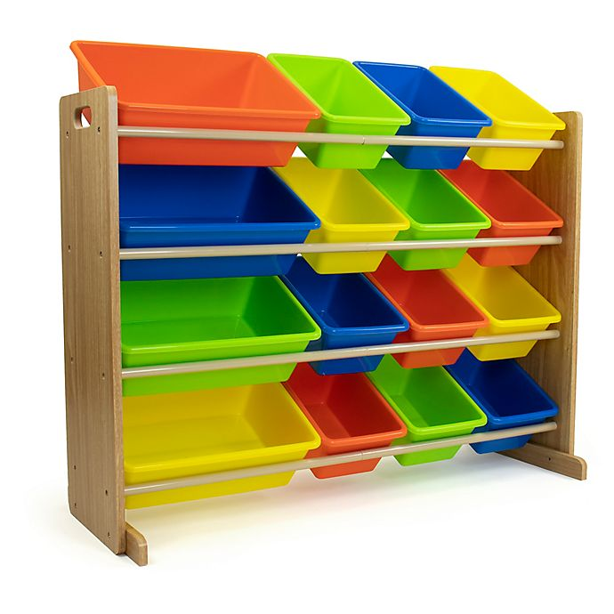 Alternate image 1 for Natural Toy Storage Organizer with 16 Bins