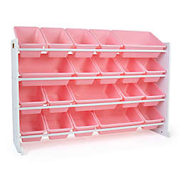 Humble Crew XL Toy Storage Organizer with 20 Bins in Pink/White