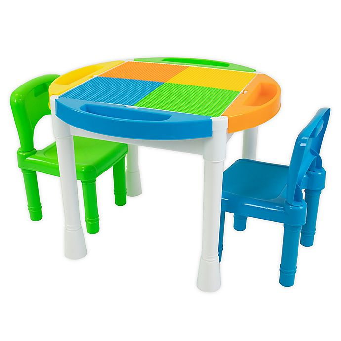 Alternate image 1 for Humble Crew® 2-in-1 LEGO®-Compatible Round Activity Table and Chairs Set
