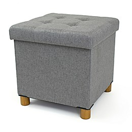 Humble Crew Collapsible Cube Storage Ottoman with Tray in Grey