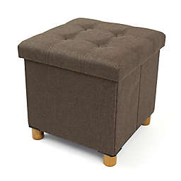 Humble Crew Collapsible Cube Storage Ottoman with Tray in Brown