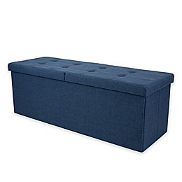 Humble Crew Folding Storage Ottoman Bench with Flip Lid in Blue
