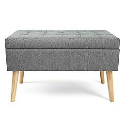 Humble Crew Rectangular Storage Fabric Ottoman Bench in Grey