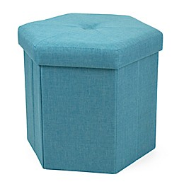Humble Crew Hexagonal Collapsible Storage Ottoman in Turquoise