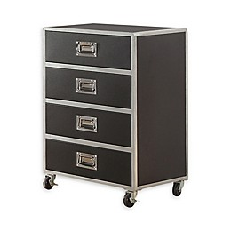 4-Drawer Chest with Casters in Black/Silver