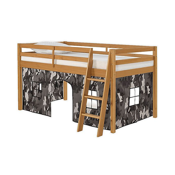 Alternate image 1 for Roxy Junior Loft Bed in Cinnamon with Grey Camo Playhouse Tent