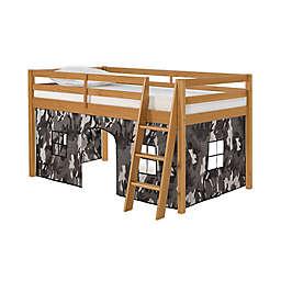 Roxy Junior Loft Bed in Cinnamon with Grey Camo Playhouse Tent