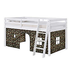 Roxy Junior Loft Bed in White with Green Camo Playhouse Tent