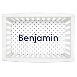 Carousel Designs® Dot Mini Fitted Crib Sheet in White/Grey