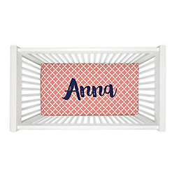 Carousel Designs® Lattice Fitted Crib Sheet in Light Coral